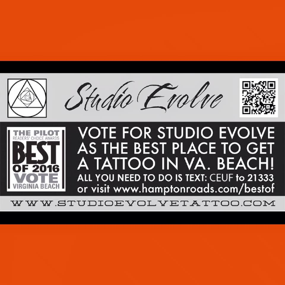 best place to get a tattoo vote now studio evolve tattoo